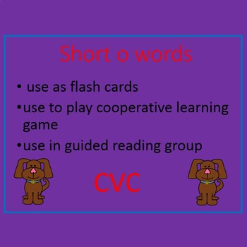 Short o word cards (CVC), I have Who has, letter cards