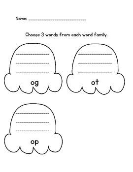 Short o word family sort literacy center  og, ot, op CCSS Aligned Kindergarten