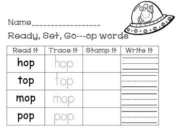 Short o word work -og, -op, -ot word families