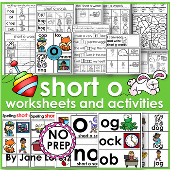 Short o worksheets and activities NO PREP