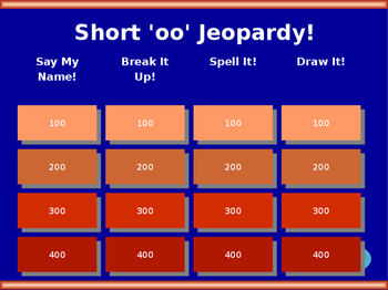 Short 'oo' Digraph Jeopardy!