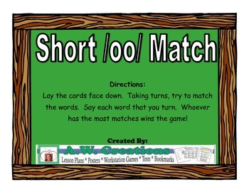 Short /oo/ Match Workstation Game or Small Group Activity