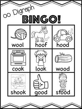 Short oo Vowel Digraph Bingo [10 playing cards]