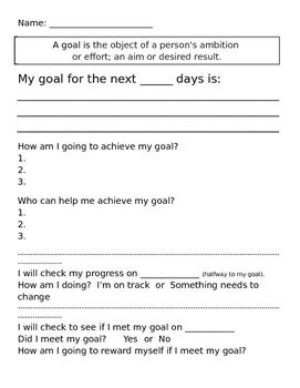 Short Or Long Term Goal Setting Worksheet