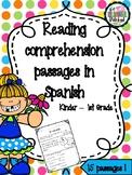 Short reading comprehension stories in SPANISH - Lecturas cortas en espanol