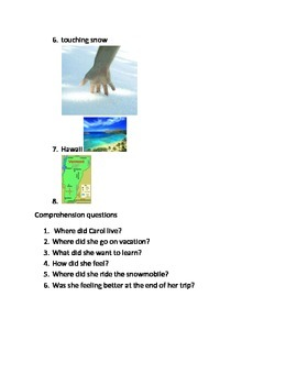 Short stories about winter topics with comprehension questions.