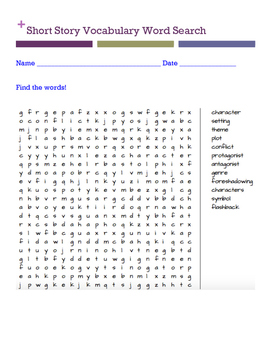 Short story vocabulary word search