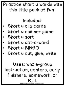 First Grade Phonics: Short u Games
