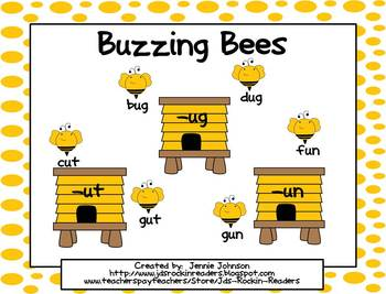 Short u Buzzing Bees CVC word sort for Small Group/Centers
