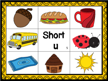 Short u CVC Mat with matching pictures, words and recording sheet!