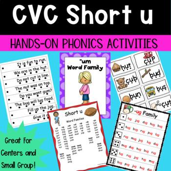 Short u CVC Word Families Hands-on Phonics Activities