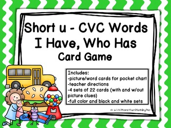 Short u CVC Words I Have, Who Has Card Game {CCSS aligned}