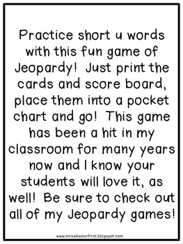 First Grade Phonics: Short u Jeopardy