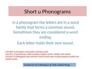 Short u Phonograms