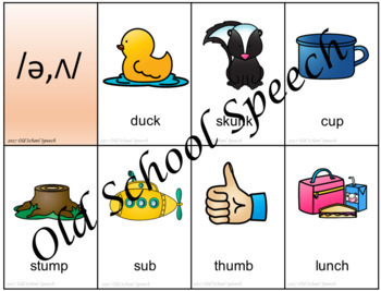 Short u Picture Cards for Articulation
