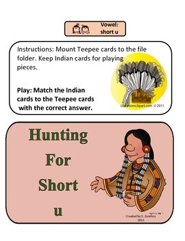 Short u Picture and Text: File Folder Activity