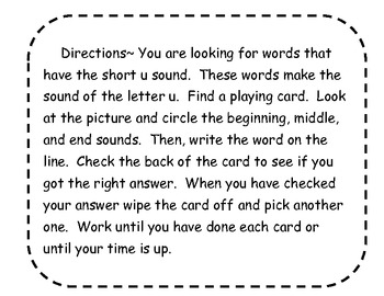 Short u Picture/Word Cards