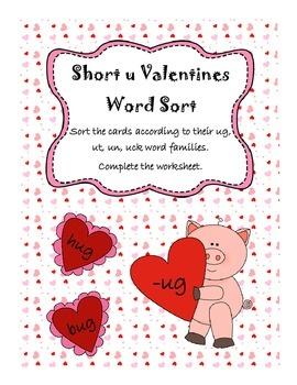 Short u Valentines Word Sort FREEBEE