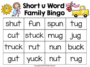 Short u Word Family Bingo