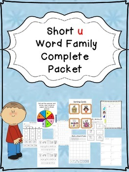 Short u Word Family Centers Bundle: CVC Bingo, Spinner, Sorting Cards & MORE!