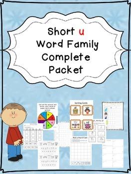 Short u Word Family Centers Bundle: CVC Bingo, Spinner, So