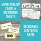 Short u Word Family Word Builder Cards