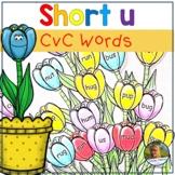 Short u Word Work!  Flowers CvC Words for Kindergarten