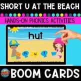 Short-u Words At the Beach CVC Boom Cards