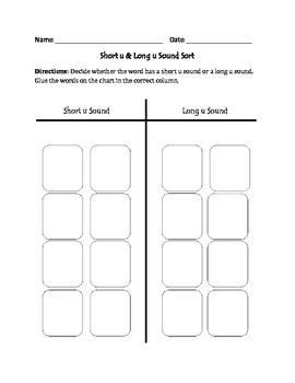 Short u and Long u Words: Cut, Sort, and Paste Activity