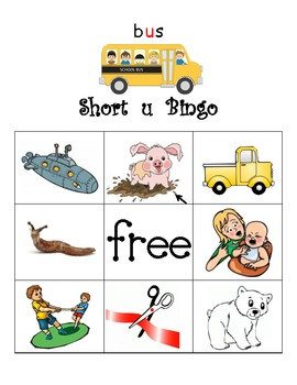 Short u bingo with short u decoding cards
