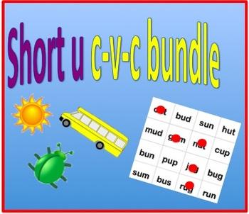 Short u cvc bundle - worksheet and bingo game