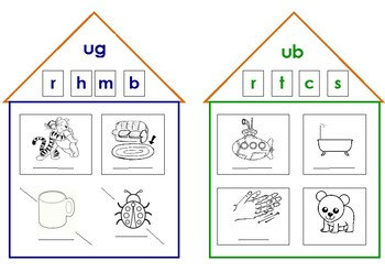 "Short ""u"" sound. Word family house activity."