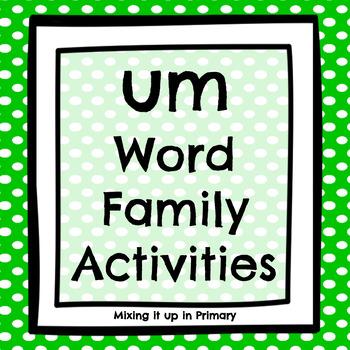 Short u - um Word Family Activities