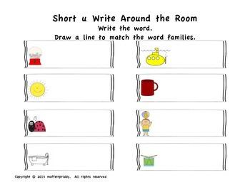 Short u word family Write Around the Room