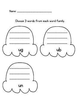 Short u word family sort - literacy center ug, ub, un