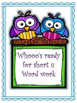 Short u word work pack -un, -ug, -ut