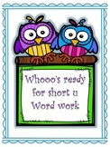 Short u word work pack -un, -ug, -ut