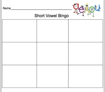 Short vowel Bingo game for Smartboard
