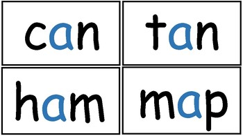 Short vowel a - Word cards