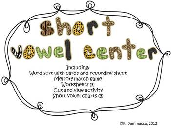 Short vowel center activities with games and sort