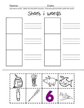 Short vowel cut, paste, write set