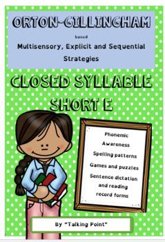 Short vowel 'e' multisensory phonics Orton Gillingham strategies