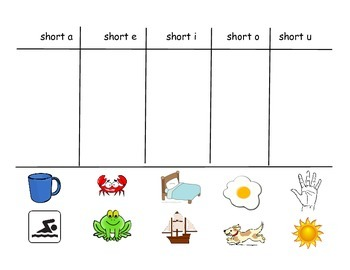 Short vowel picture sort