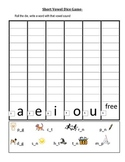 Short vowel recognition dice game