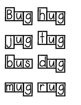 Short vowel word families words