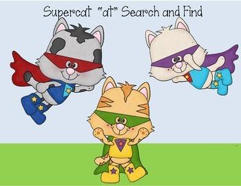 Short vowel word family Search and Find  at, et, ig, og, u