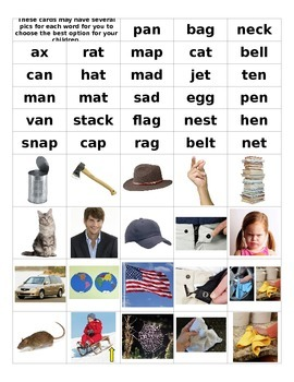 Short vowel words and matching pictures