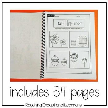 Math Worksheets- Short or Tall-Fall Themed-Special Education