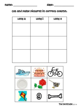 Short/Long a, i, o picture word sorts