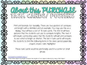 Shorter or Longer Task Cards & Poster (Comparing by length)